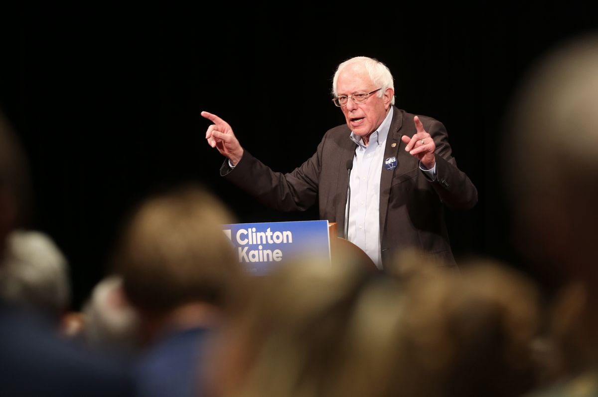 Sen. Bernie Sanders, I-Vt., speaks to a crowd as he campaigns for Democratic presidential candidate Hillary Clinton and Russ Feingold, Democratic candidate for the U.S. Senate, at Monona Terrace Community and Convention Center in Madison, Wis., Wednesday, Oct. 5, 2016. (Amber Arnold/Wisconsin State Journal via AP) (AP)