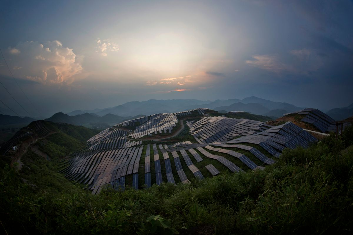 This Aug. 21, 2016 photo shows a view of a photovoltaic power station in Songxi county in southeast China's Fujian province. Solar panels are among a series of industries from steel and cement to wind turbines in which Chinese production capacity soared during the past decade's economic boom until it vastly exceeded demand. (Chinatopix via AP) (AP)