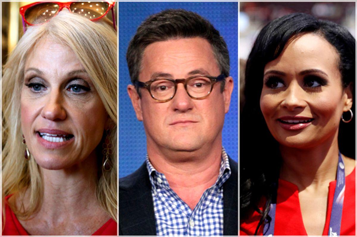 Kellyanne Conway; Joe Scarborough; Katrina Pierson   (Reuters/Carlo Allegri/Getty/Frederick M. Brown/AP/Carolyn Kaster)