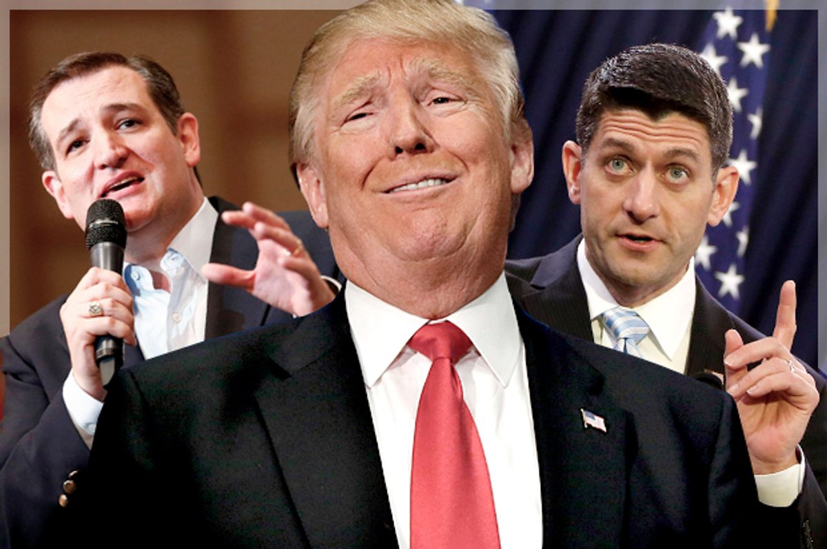 Ted Cruz; Donald Trump; Paul Ryan   (AP/Reuters/Jason Miczek/LM Otero/Gary Cameron/Photo montage by Salon)