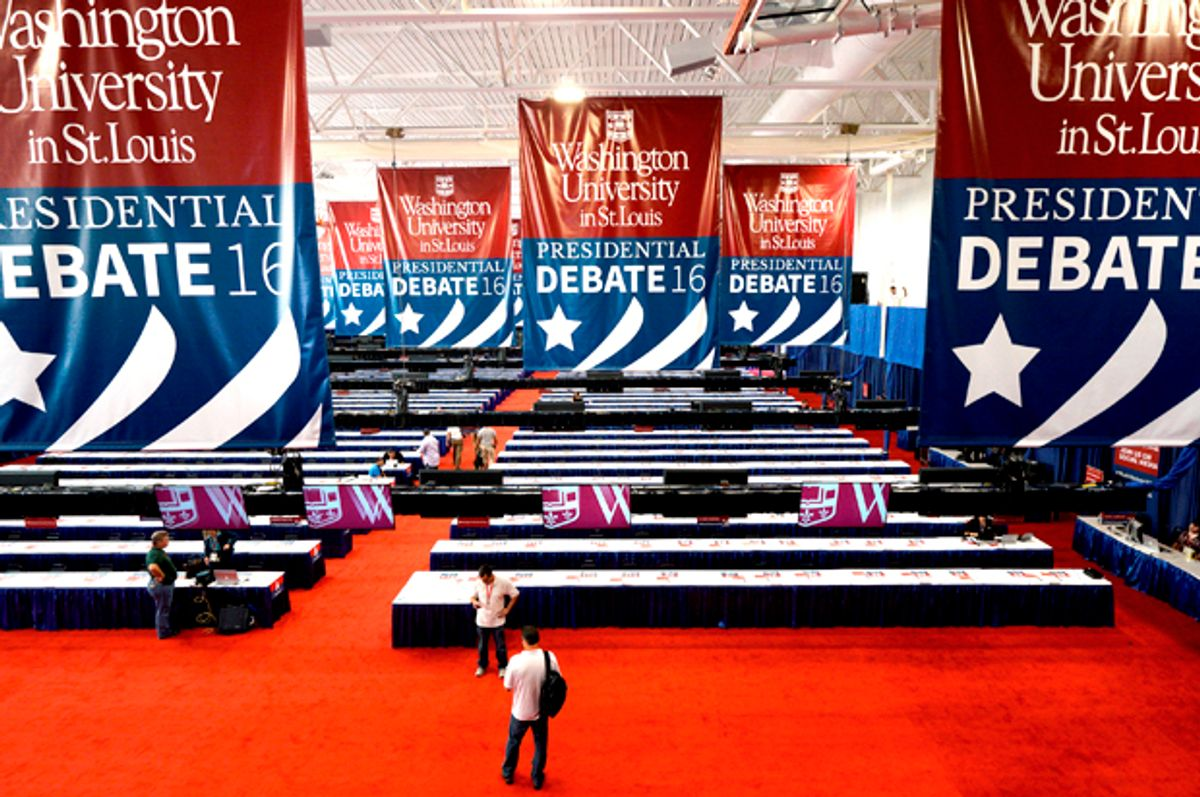 The media workroom is prepared for the second 2016 U.S.   (Reuters/Rick Wilking)