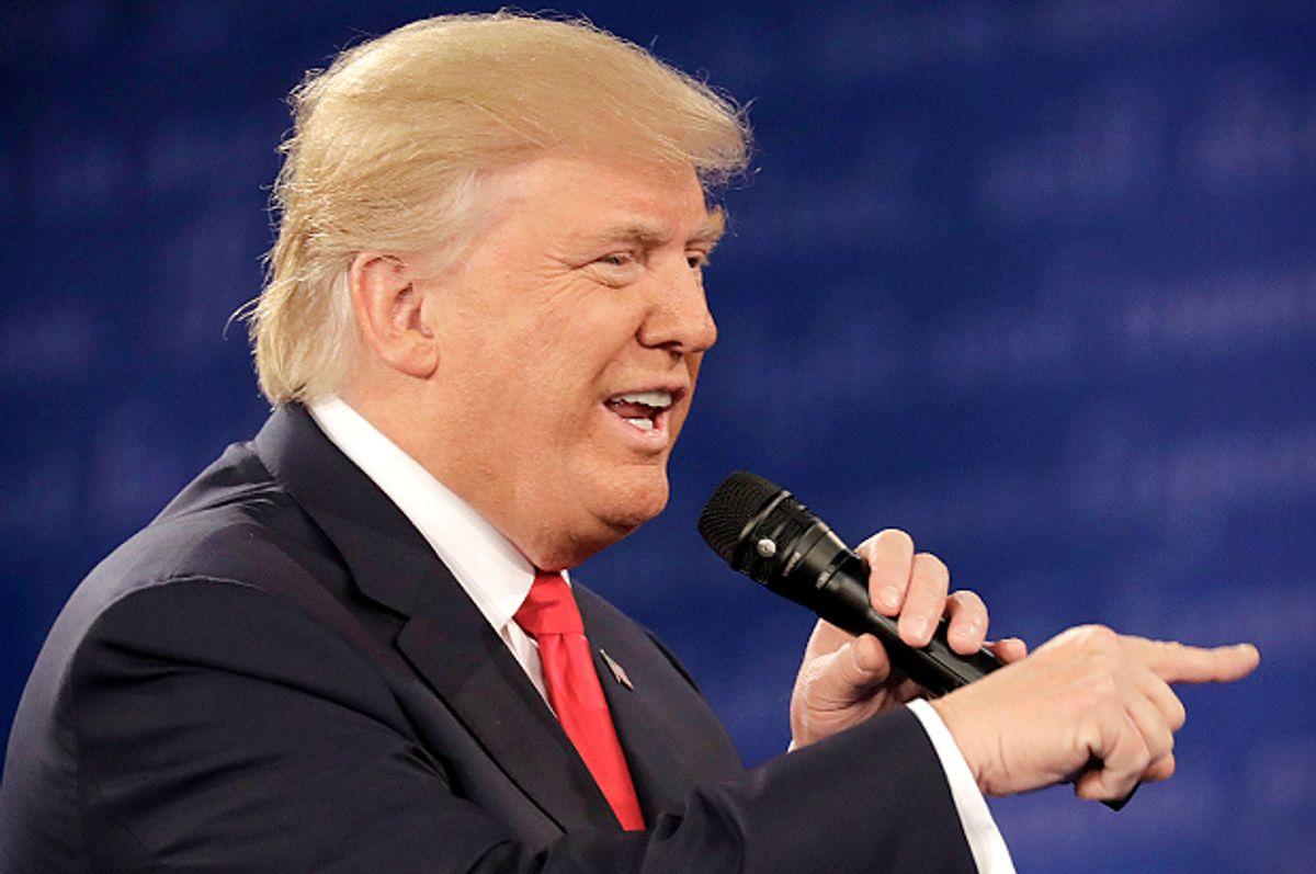 Donald Trump at the presidential debate in St. Louis, Sunday, Oct. 9, 2016.    (AP/Patrick Semansky)