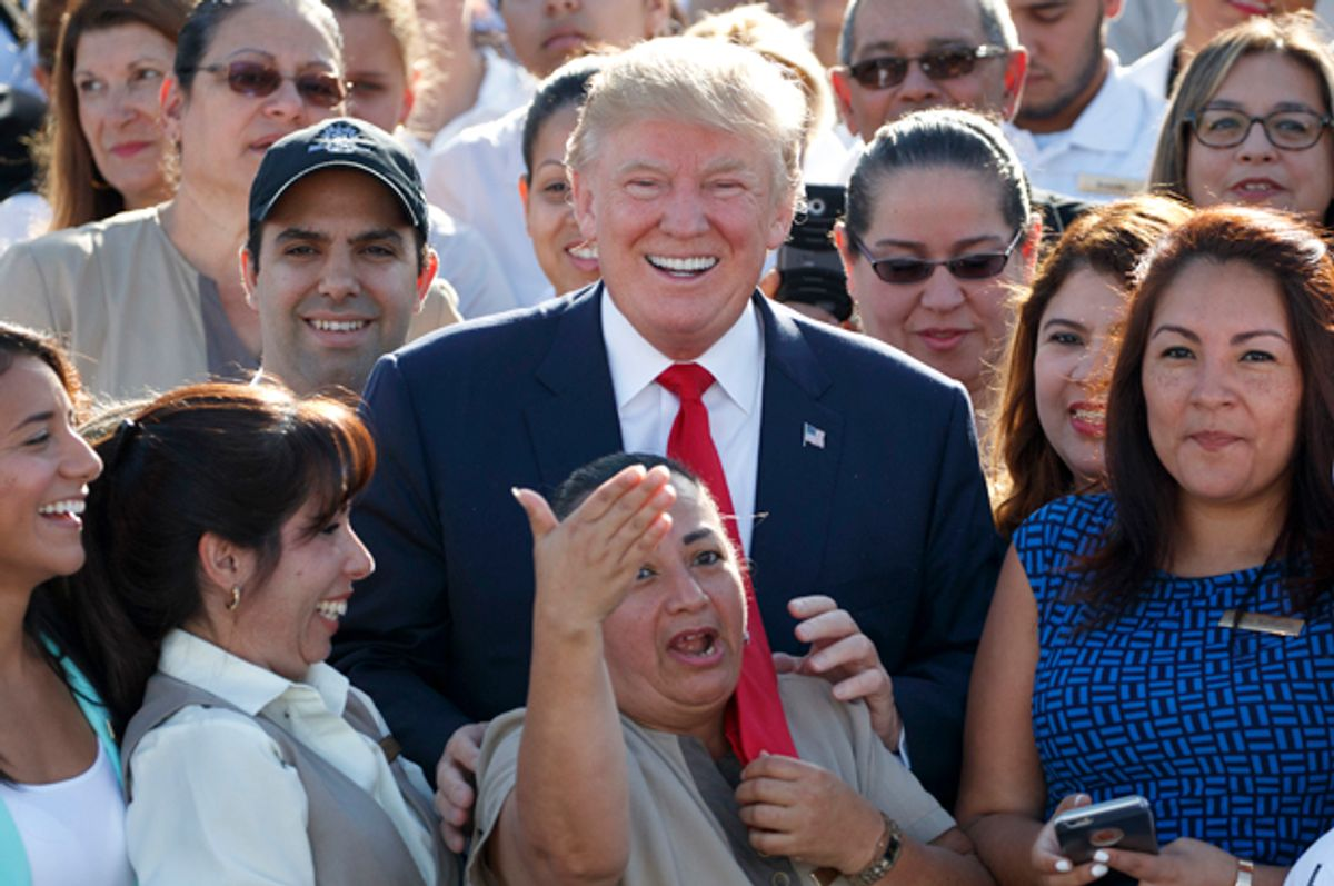 Donald Trump at campaign event with employees at Trump National Doral, Oct. 25, 2016, in Miami.    (AP/Evan Vucci)