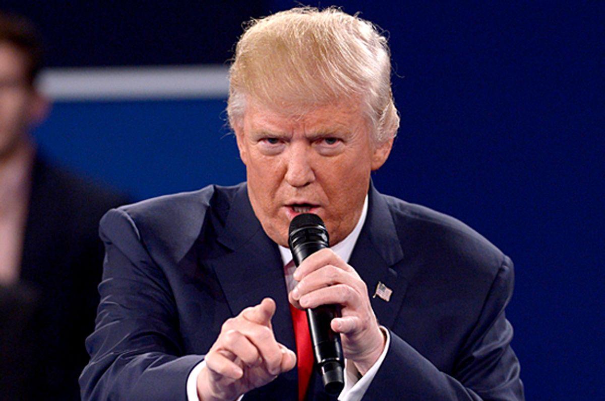 Republican presidential nominee Donald Trump speaks during the second presidential debate at Washington University in St. Louis, Sunday, Oct. 9, 2016. (Saul Loeb/Pool via AP) (AP)