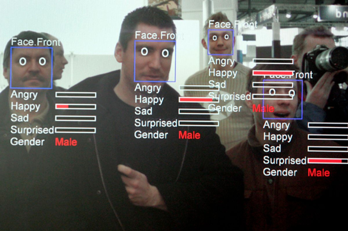 """A photo of a computer screen running """"Real Time Face Detector"""" software   (Getty/John MacDougall)"""