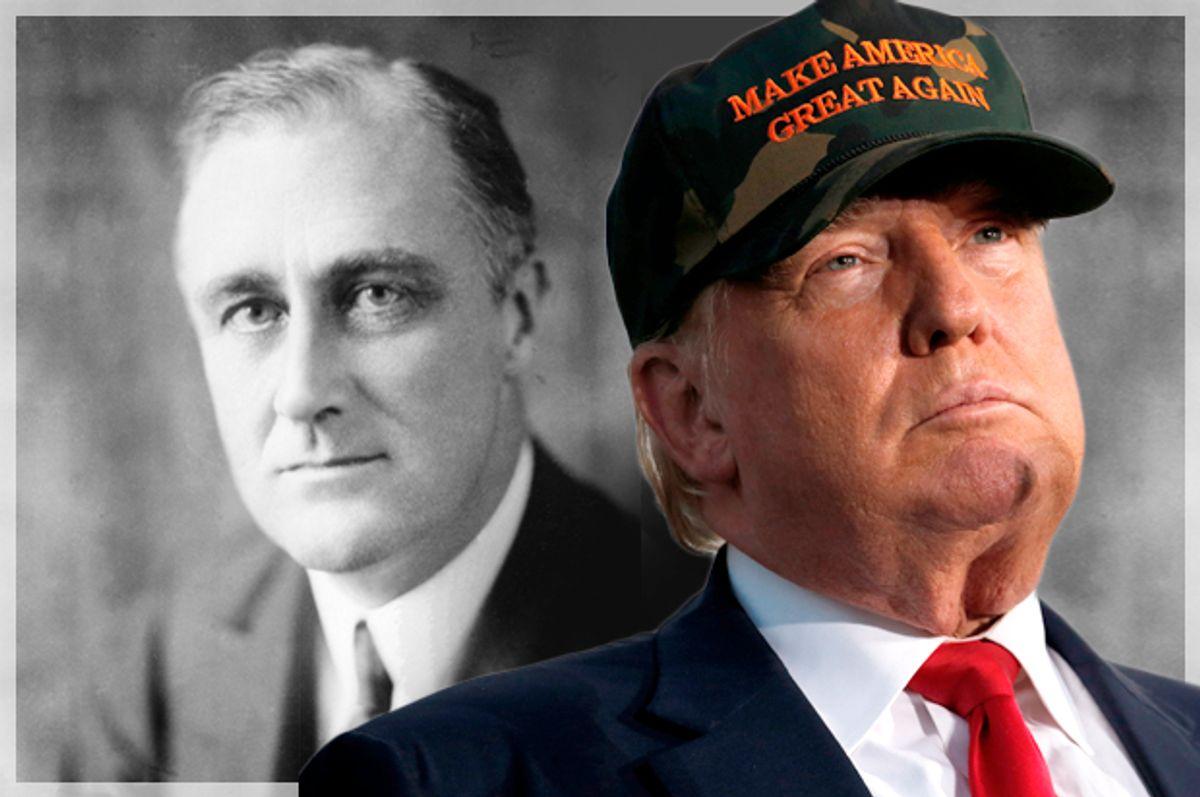 Franklin Roosevelt; Donald Trump   (AP/Reuters/Jonathan Ernst/Salon)