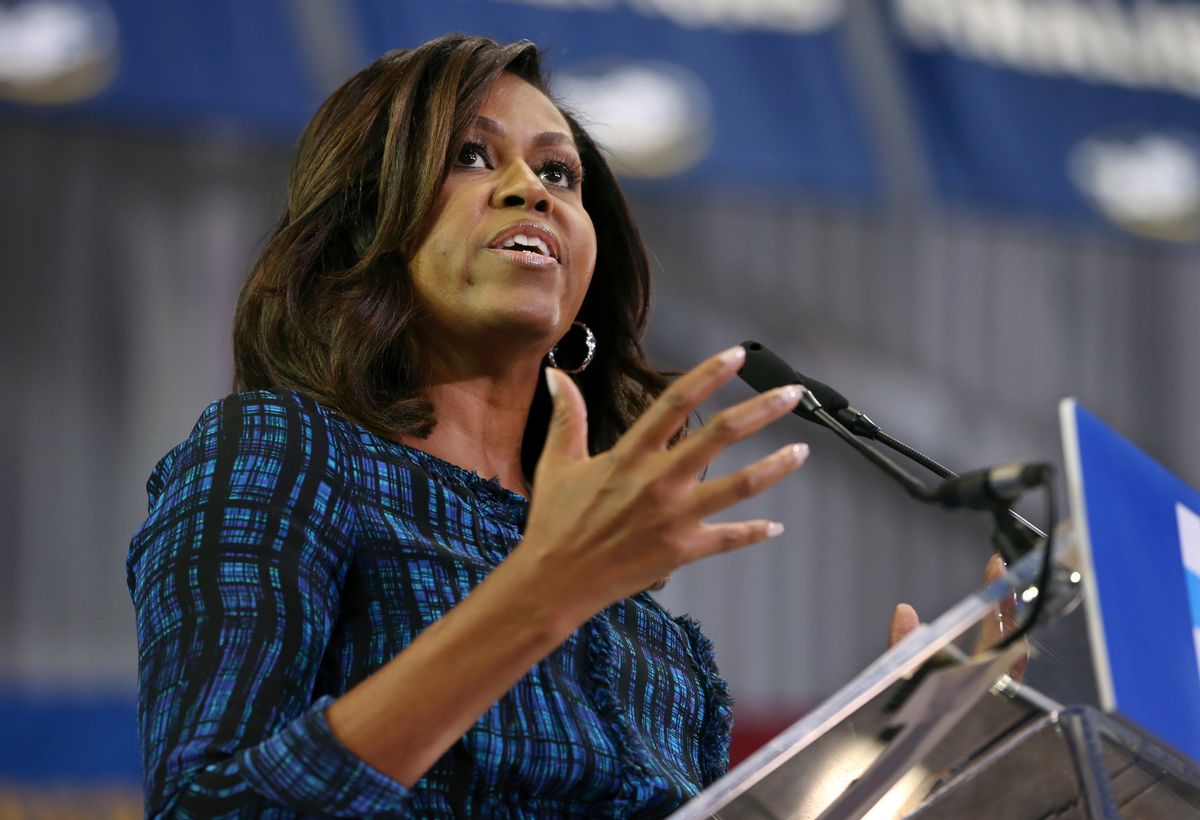 FILE - In this Sept. 28, 2016 file photo, first lady Michelle Obama speaks at LaSalle University in Philadelphia as she campaigns for presidential candidate Hillary Clinton. Obama will mark International Day of the Girl on Oct. 11 by Skyping with girls around the world about education challenges in their lives. (AP Photo/Mel Evans, File) (AP)