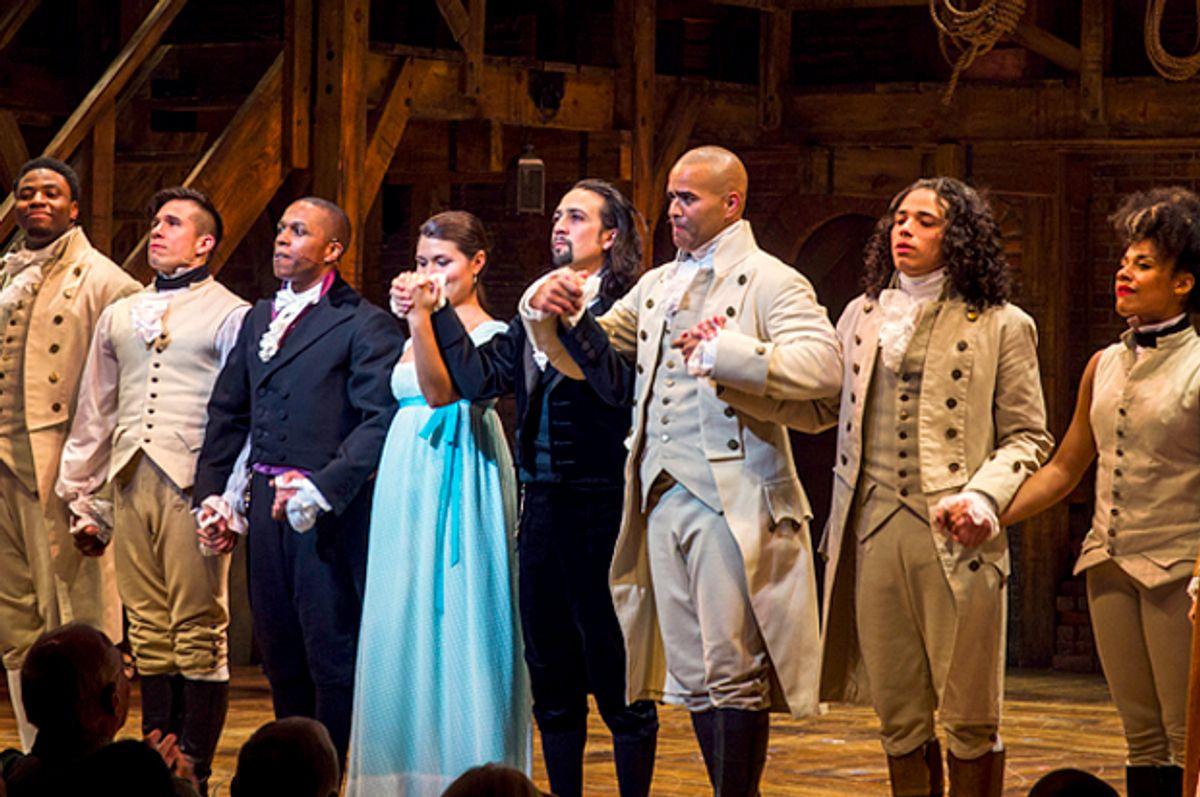 """""""Hamilton"""" actors bow to the audience   (Reuters/Lucas Jackson)"""