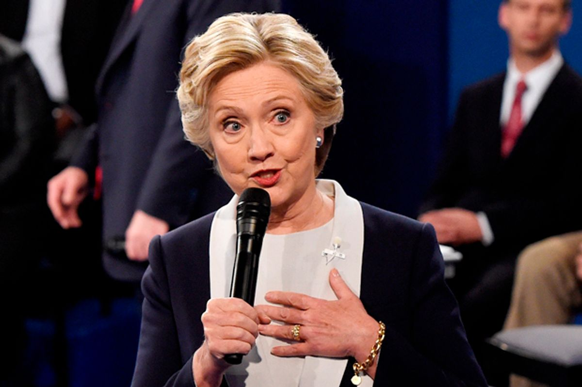 Hillary Clinton at the town hall debate on October 9, 2016 in St Louis, Missouri.   (Getty/Saul Loeb)