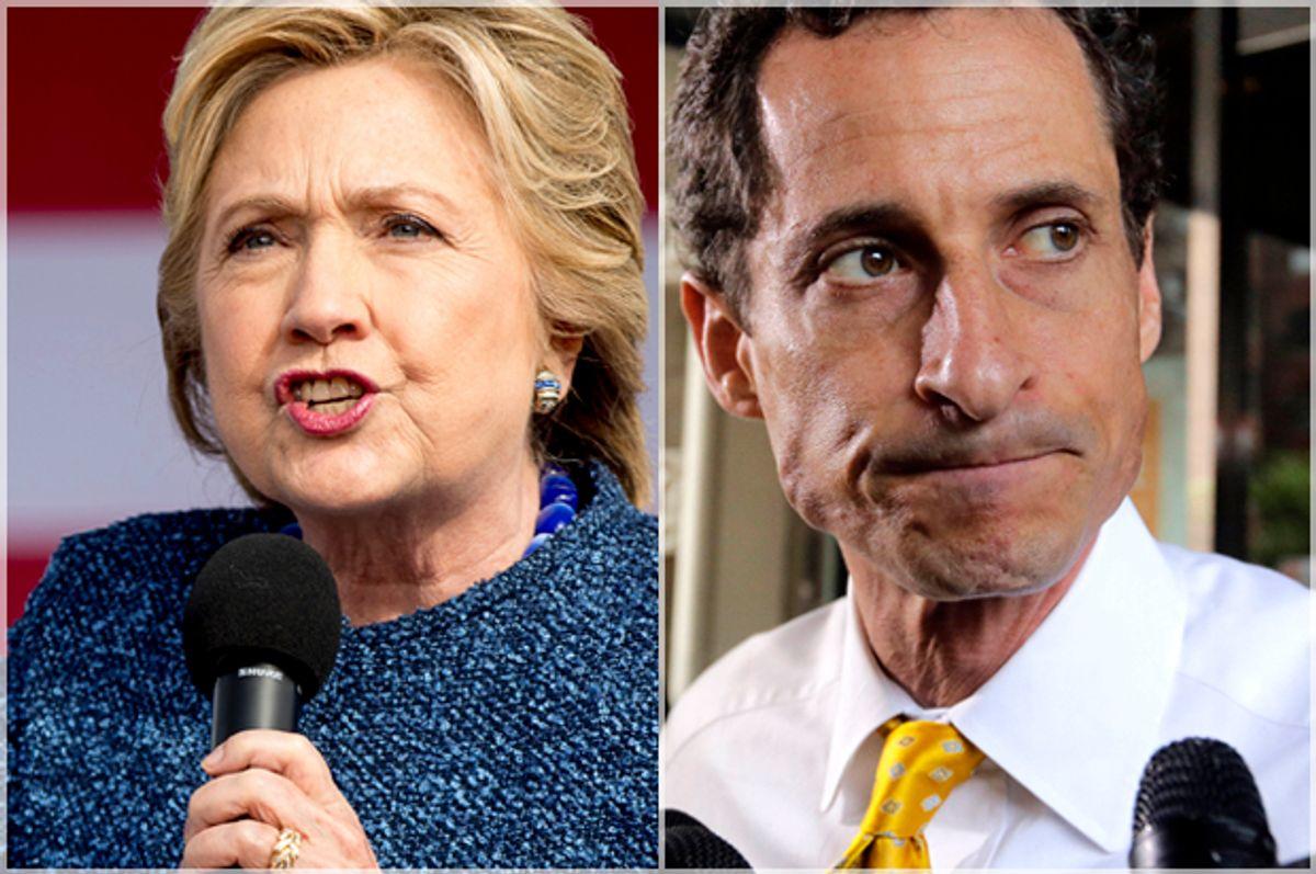 Hillary Clinton; Anthony Weiner (AP/Andrew Harnik/Richard Drew)
