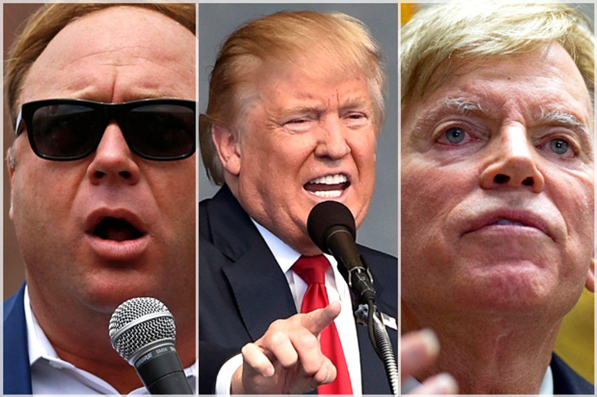 Alex Jones; Donald Trump; David Duke   (Reuters/Lucas Jackson/David Becker/AP/Max Becherer)