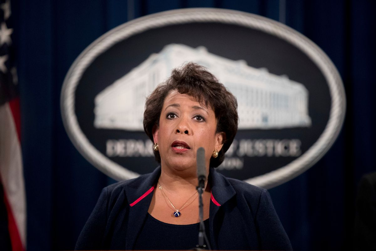 FILE -In this Sept. 22, 2016 file photo, Attorney General Loretta Lynch speaks at a news conference at the Justice Department in Washington. The Justice Department is moving forward with its plans to collect data on how often law enforcement  officers use force and how often civilians die in police custody.   (AP)