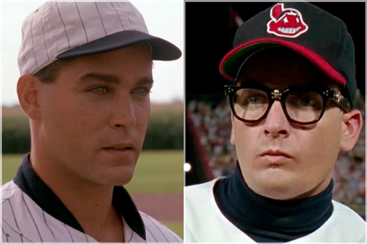 """Ray Liotta on """"Field of Dreams""""; Charlie Sheen on """"Major League""""   (Universal/Paramount)"""