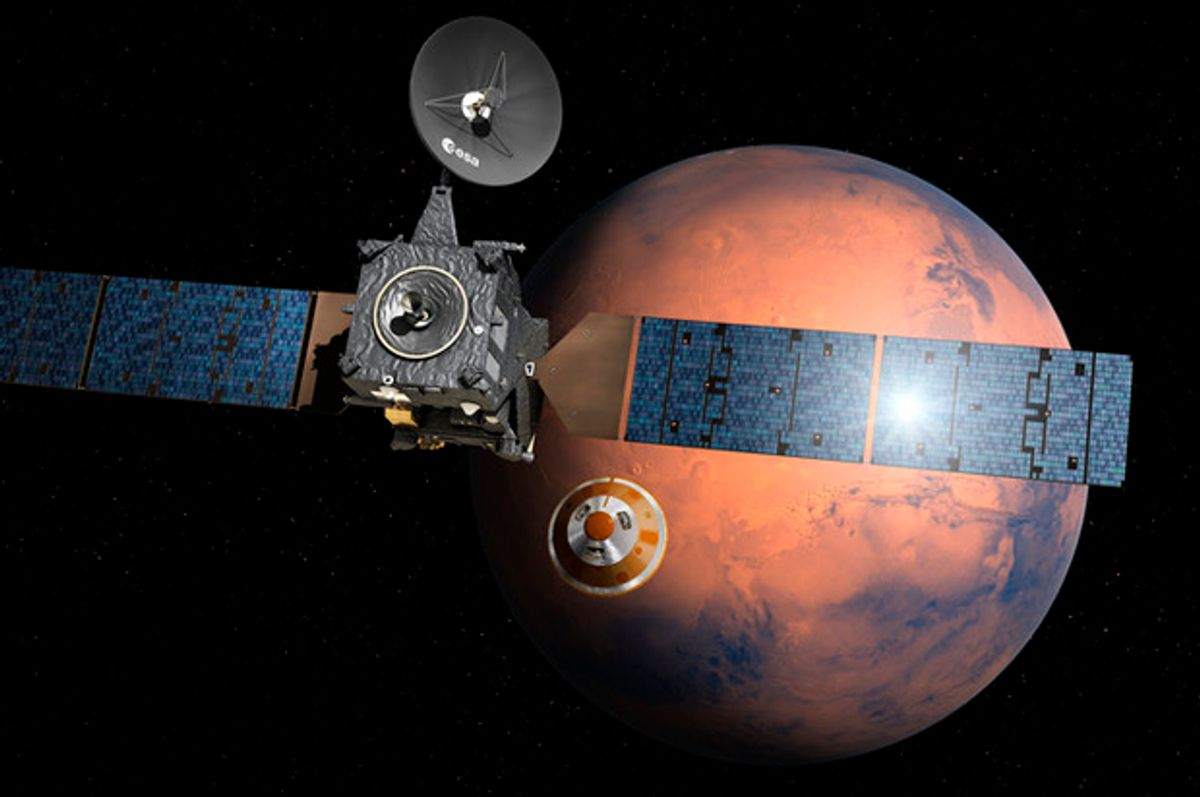 """Artist's impression depicting the ExoMars 2016.   (<a href=""""http://www.esa.int/spaceinimages/Images/2016/02/Schiaparelli_separating_from_Trace_Gas_Orbiter"""" target=""""_blank"""">esa</a>)"""