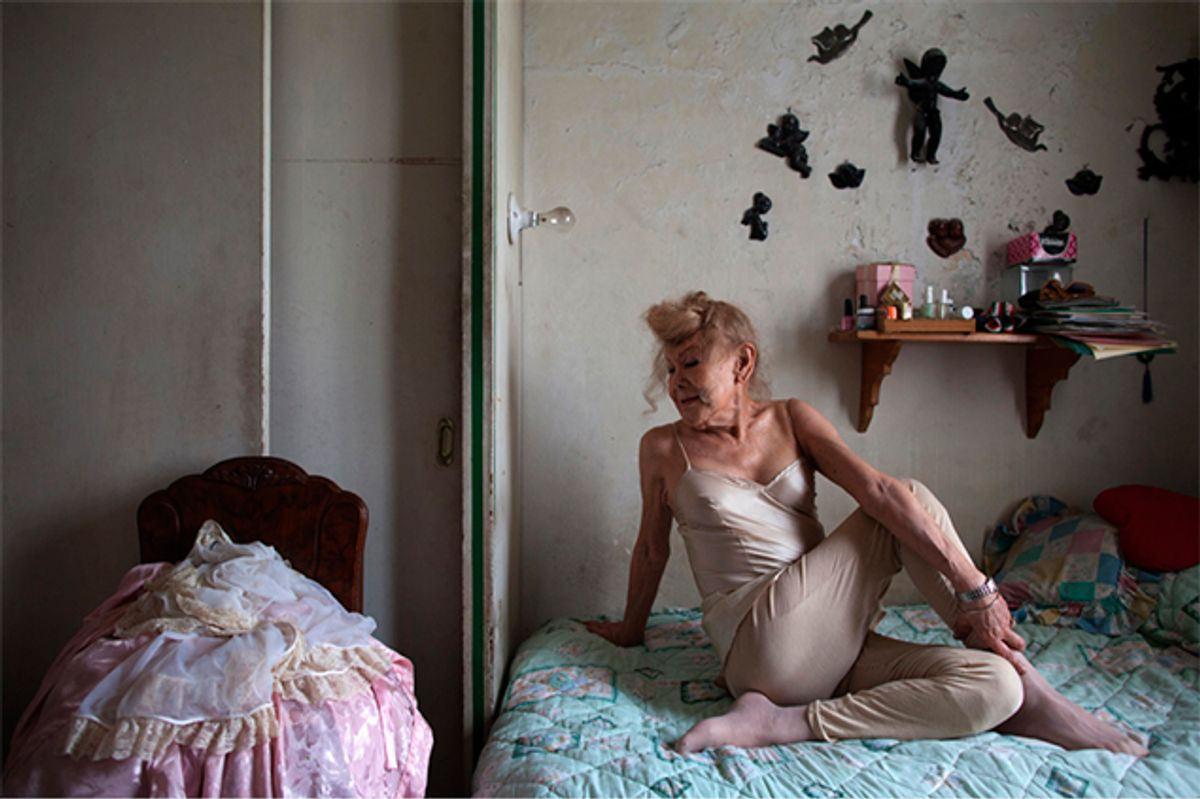 Samantha practices her daily yoga in her bedroom in Mexico City   (Benédicté Desrus)