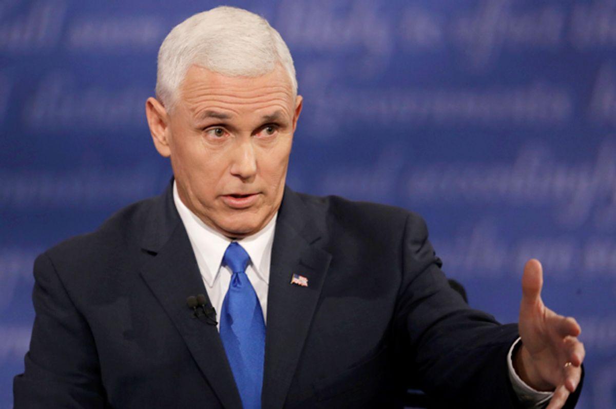 Mike Pence speaks at the vice-presidential debate in Farmville, Va., Oct. 4, 2016.   (AP/Patrick Semansky)