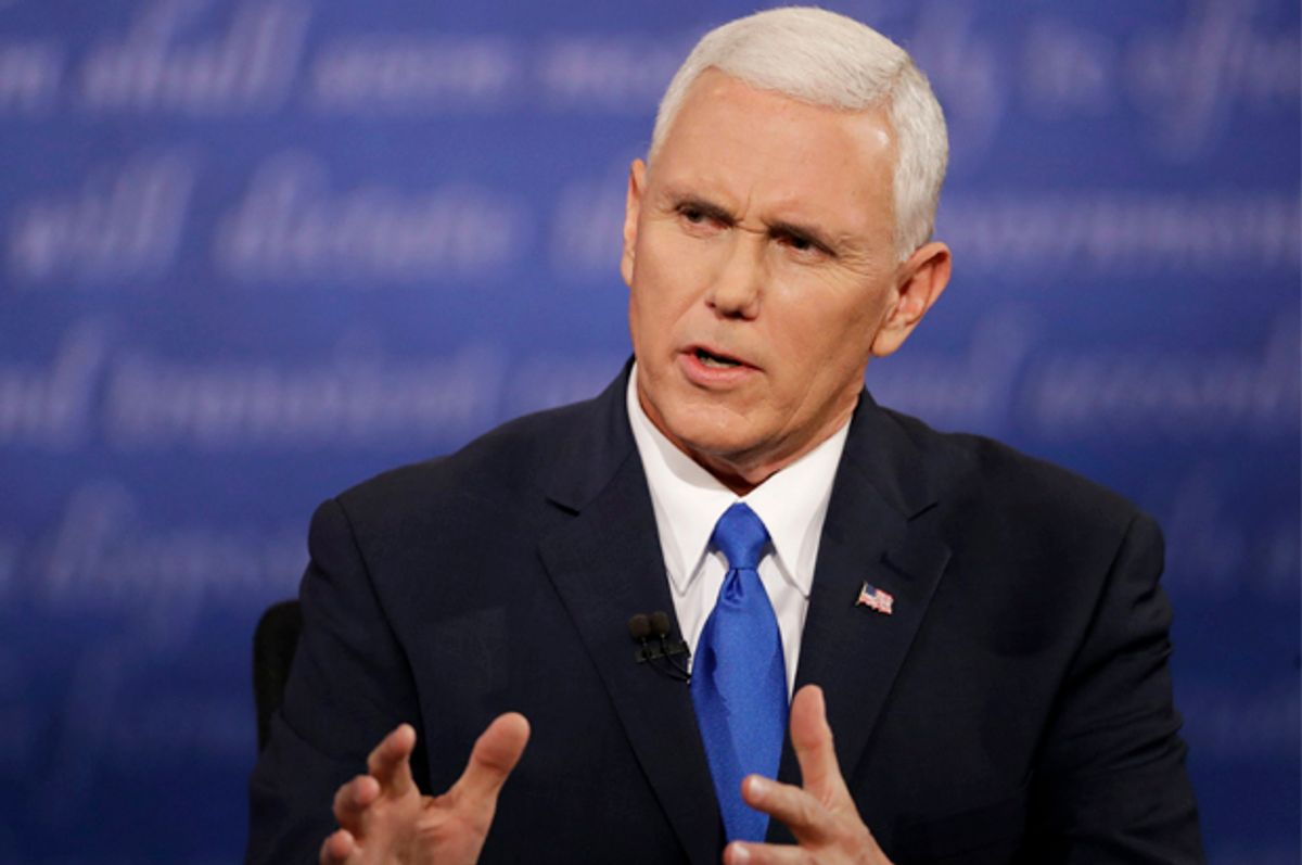 Mike Pence speaks during the debate at Longwood University in Farmville, Va,, Oct. 4, 2016.    (AP/Patrick Semansky)