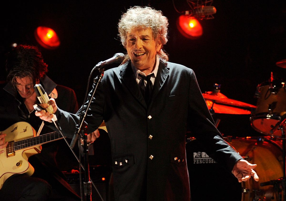 FILE  - In this Jan. 12, 2012, file photo, Bob Dylan performs in Los Angeles. Dylan was named the winner of the 2016 Nobel Prize in literature Thursday,  (AP)
