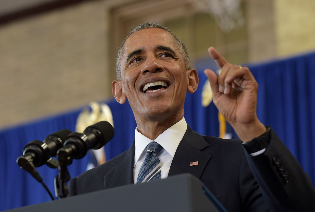 FILE - In this Monday, Oct. 17, 2016 file photo, President Barack Obama speaks during a visit to Benjamin Banneker Academic High School in Washington.  (AP)