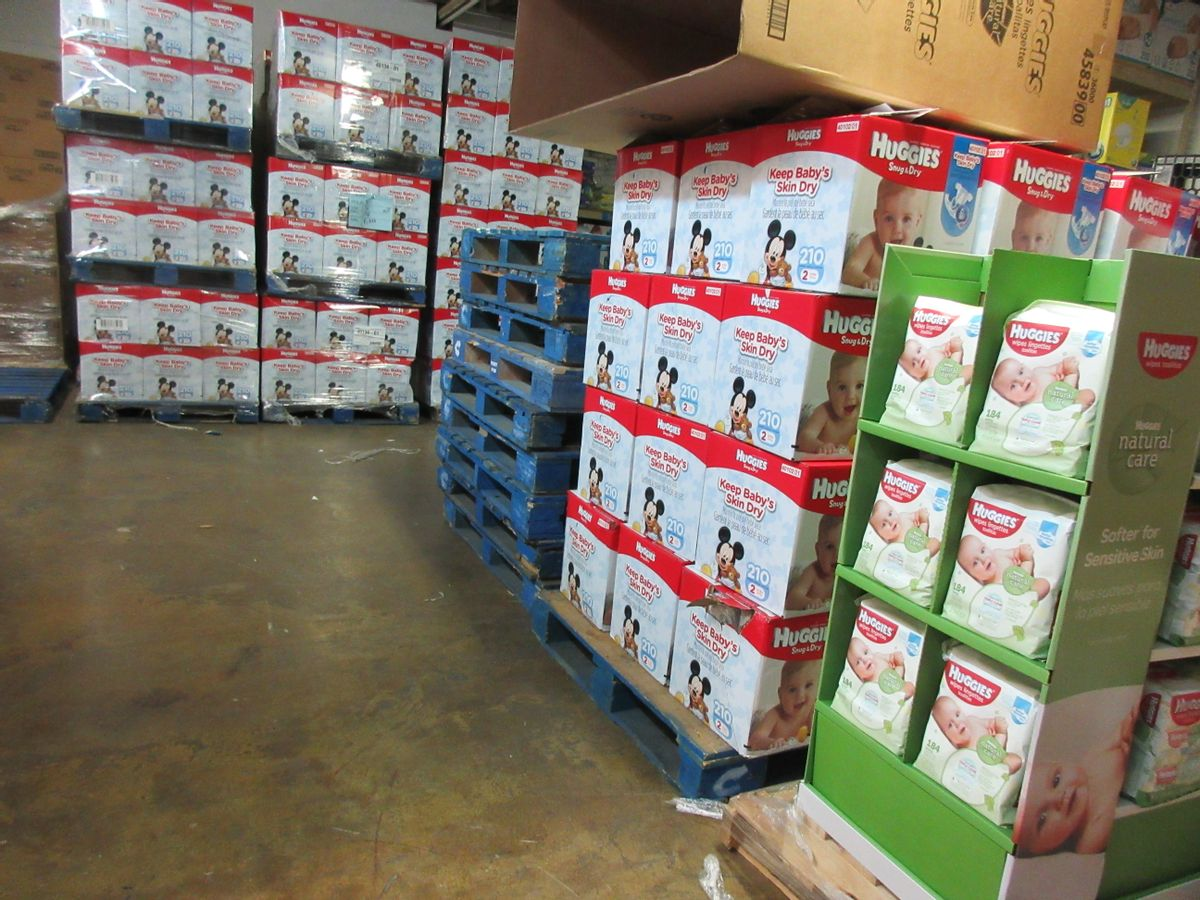 This Sept. 9, 2016 photo shows boxes of donated diapers stacked in a warehouse in North Haven, Conn. The National Diaper Bank Network, which operates the warehouse, distributes the diapers to agencies and community-based organizations like churches, which in turn provide them to families in need. (AP Photo/Beth J. Harpaz) (AP)