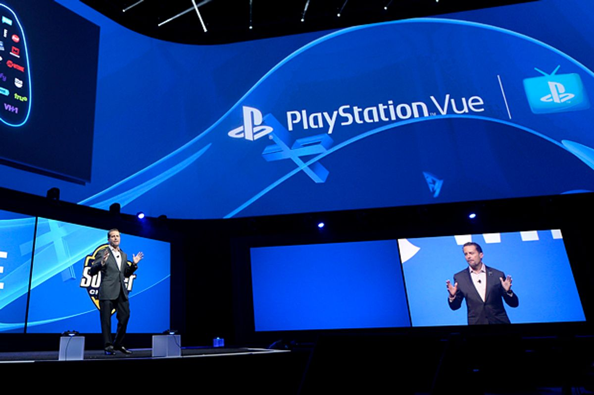 Andrew House, president and global EO of Sony Computer Entertainment Inc., talks about the Playstaion Vue during the Sony Playstation E3 conference in Los Angeles, June 15, 2015.    (Reuters/Kevork Djansezian)