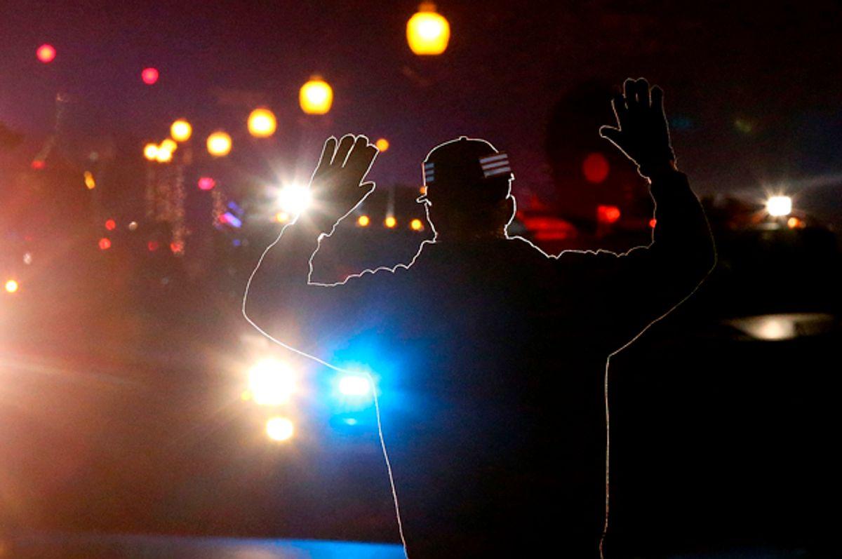 A protester in Ferguson, Missouri, November 24, 2014.   (Getty/Justin Sullivan)