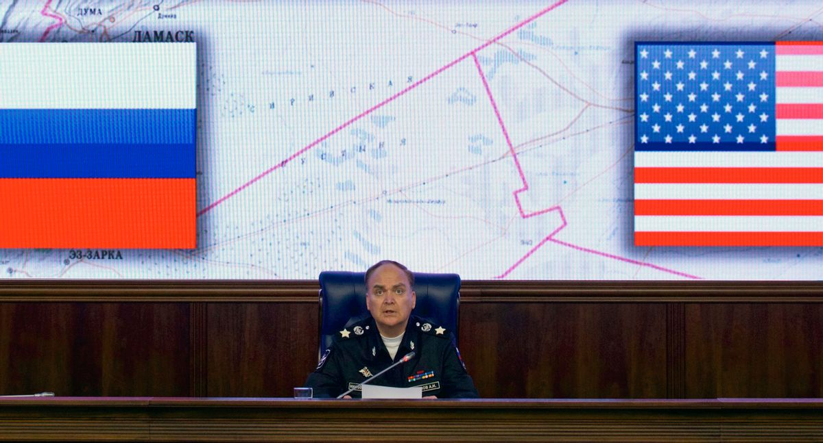 FILE - In this file photo dated Friday, Oct. 7, 2016, Russian Deputy Defense Minister Anatoly Antonov speaks during a media briefing in the Defense Ministry in Moscow.   (AP)