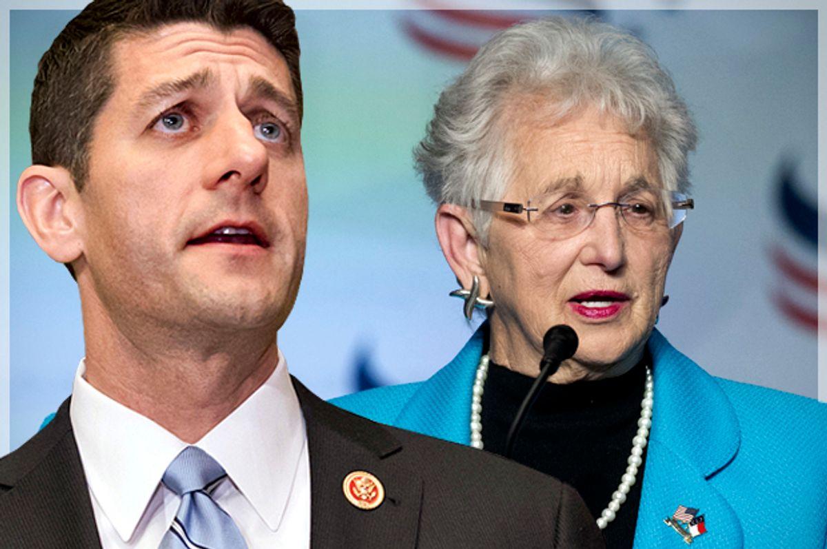 Paul Ryan; Virginia Foxx   (AP/J. Scott Applewhite/Cliff Owen/Photo montage by Salon)