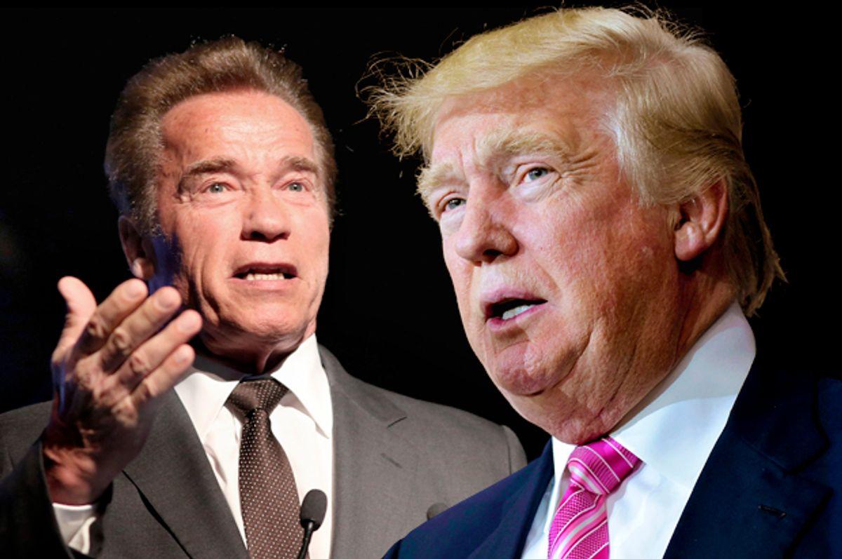 Arnold Schwarzenegger; Donald Trump   (Getty/Quinn Rooney/Mandel Ngan/Photo montage by Salon)