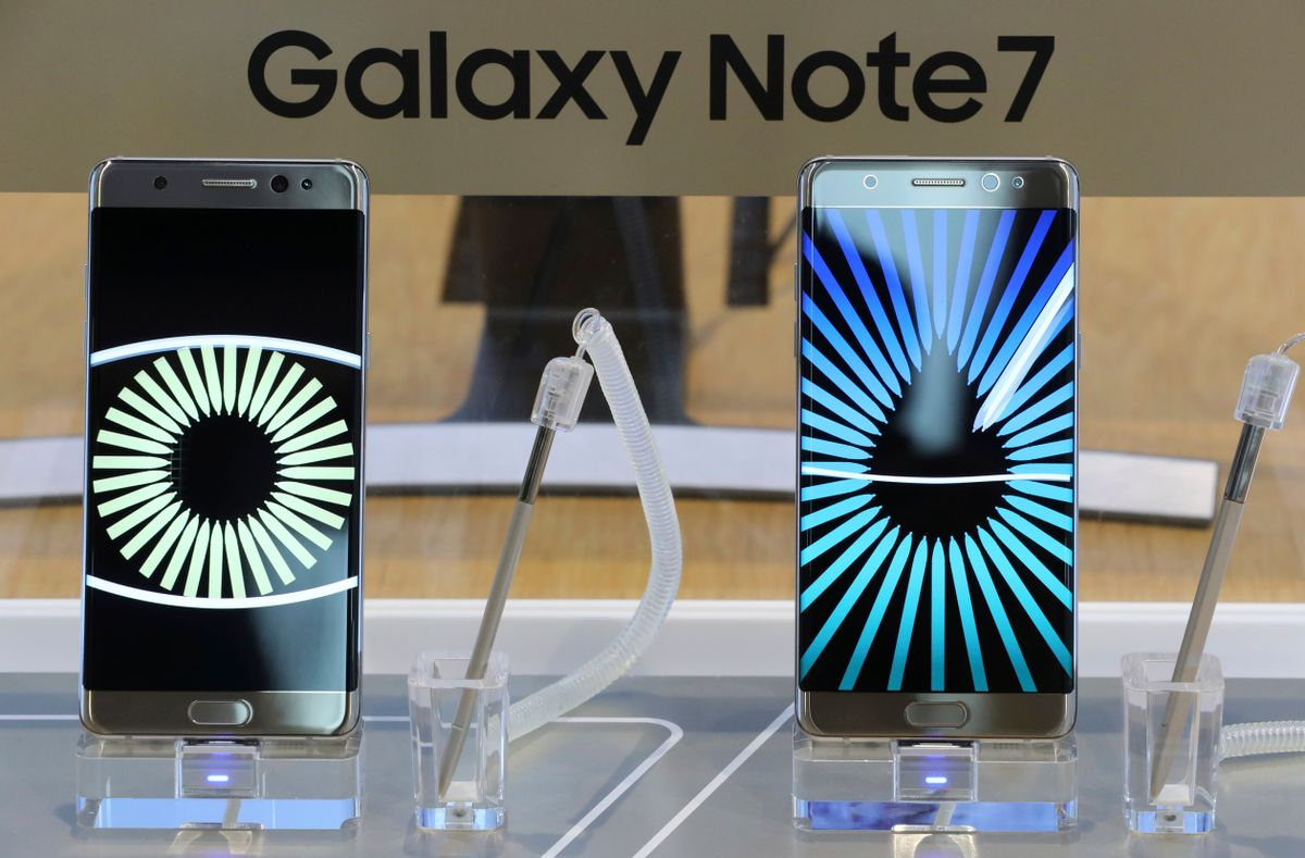 In this Tuesday, Oct. 11, 2016 photo, Samsung Electronics Galaxy Note 7 smartphones are displayed at its shop in Seoul, South Korea. Samsung Electronics said Thursday, Oct. 13, 2016, it has expanded its recall of Galaxy Note 7 smartphones in the U.S. to include all replacement devices the company offered as a presumed safe alternative after the original Note 7s were found prone to catch fire. (AP Photo/Lee Jin-man) (AP)