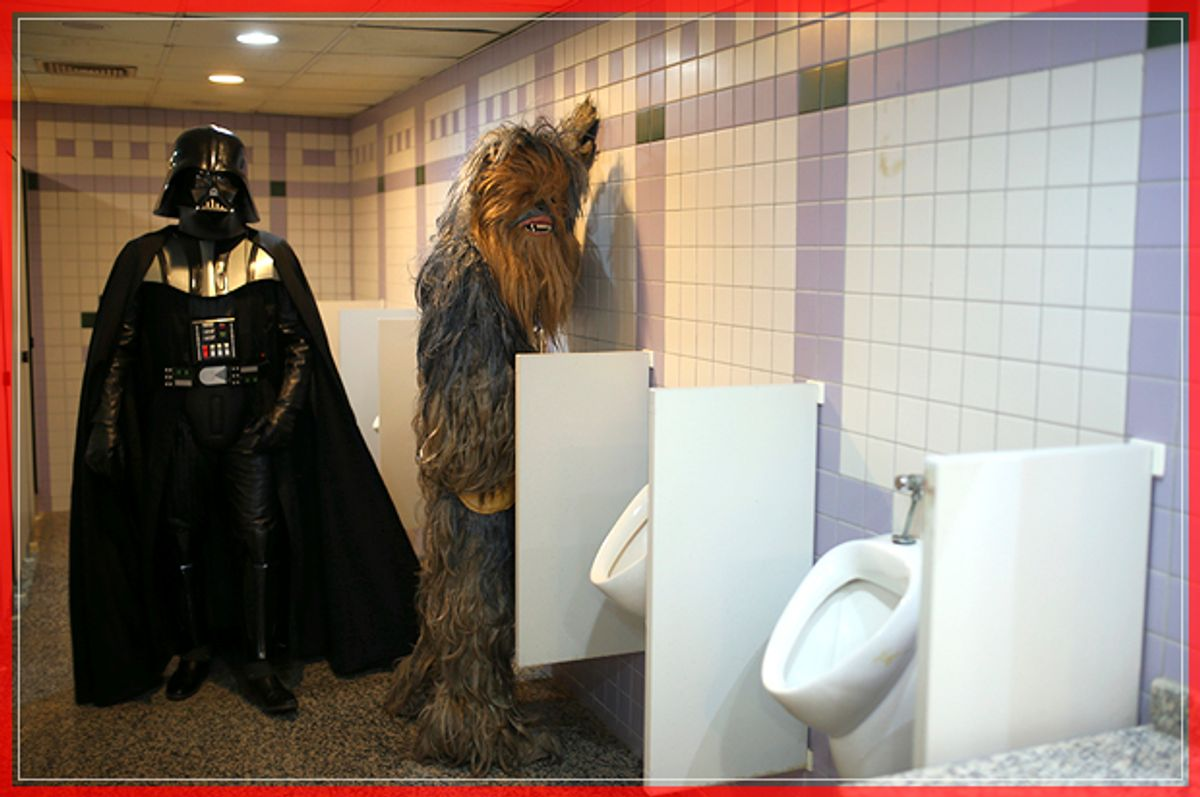 CORRECTS NAME - Fans dressed as Darth Vader, left, and Chewbacca are pictured in a bathroom as they attend 53rd Antalya Film Festival in Mediterranean Turkish resort of Antalya, Turkey, Monday, Oct. 17, 2016. (AP Photo/Emre Tazegul) (AP)
