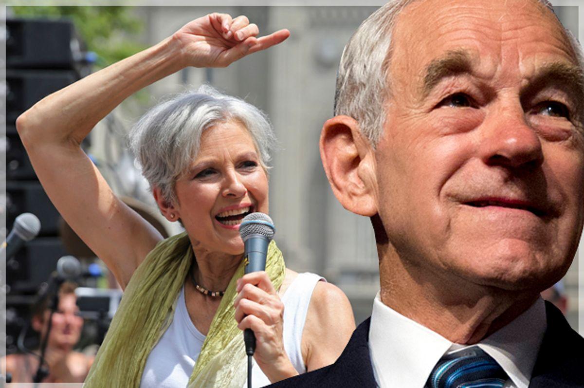 Jill Stein; Ron Paul   (Reuters/Dominic Reuter/AP/Carolyn Kaster/Photo montage by Salon)