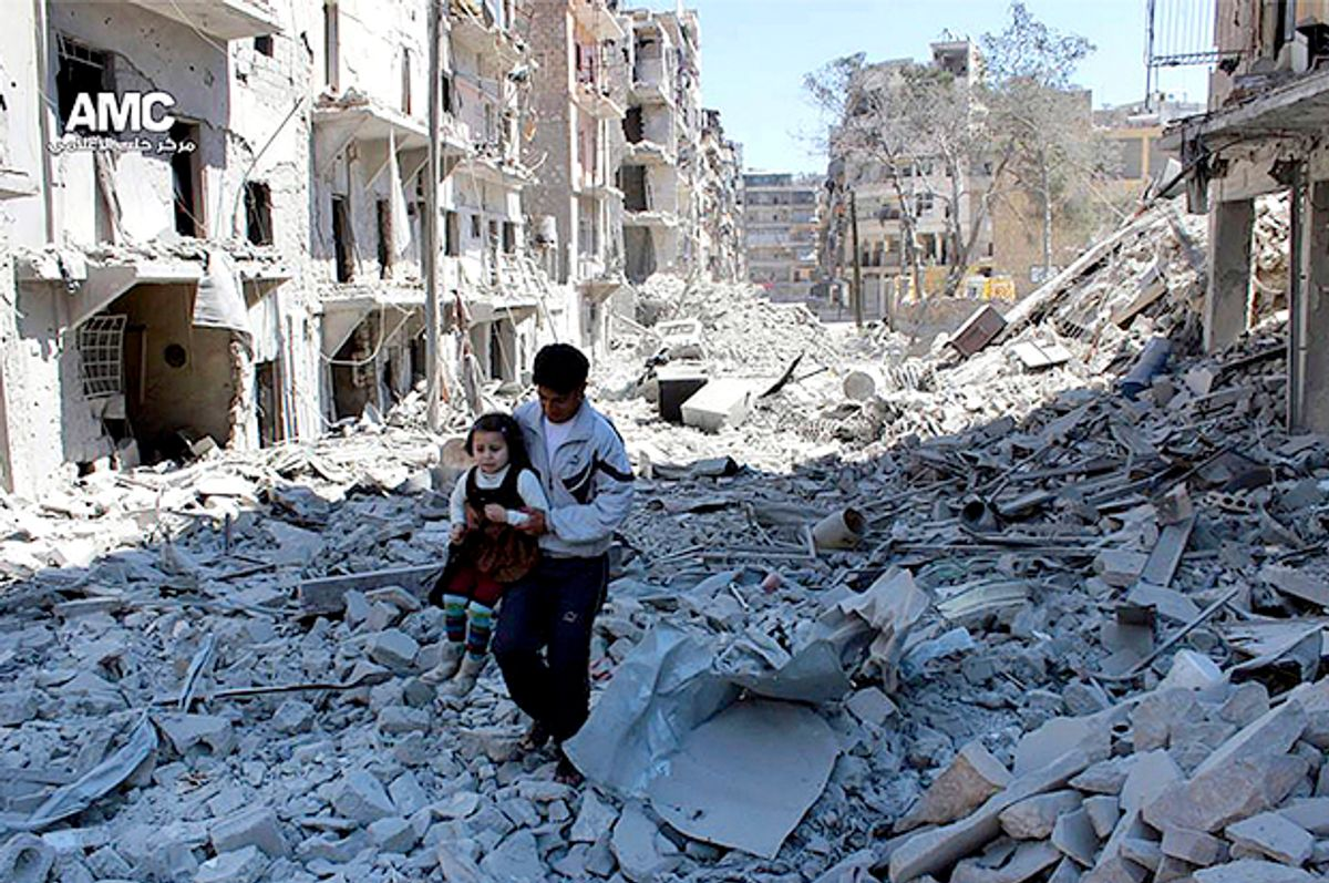 Syrian man holding a girl as he stands on the rubble of houses that were destroyed by Syrian government forces air strikes in Aleppo, Syria   (AP)