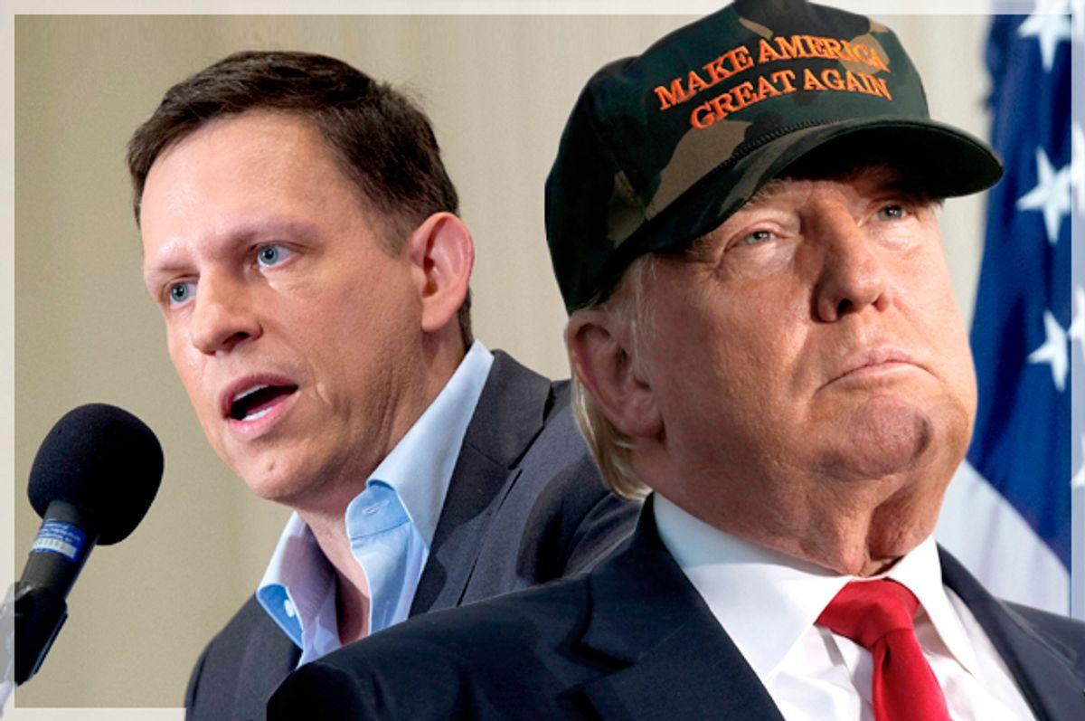 Peter Thiel; Donald Trump   (Getty/Saul Loeb;Reuters/Jonathan Ernst/Photo montage by Salon)