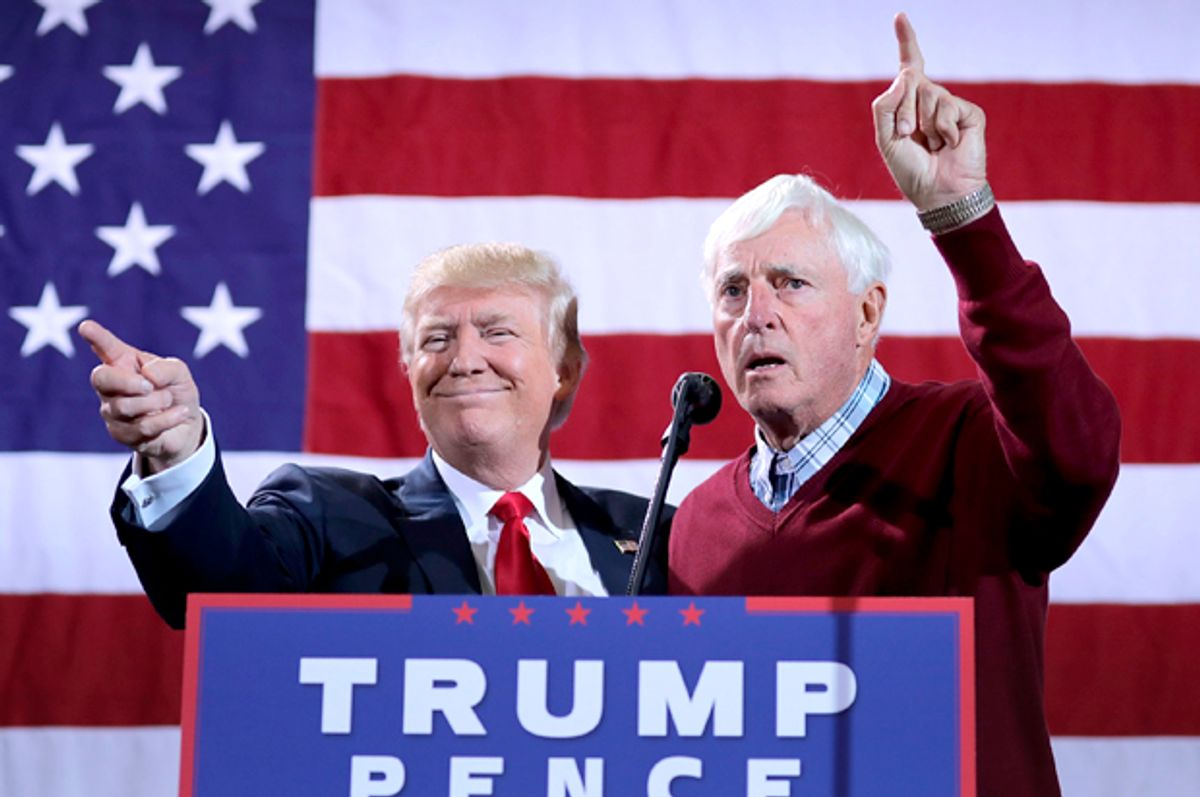 Donald Trump is introduced by Bobby Knight during a campaign rally in Grand Rapids, Michigan, October 31, 2016.   (Getty/Chip Somodevilla)
