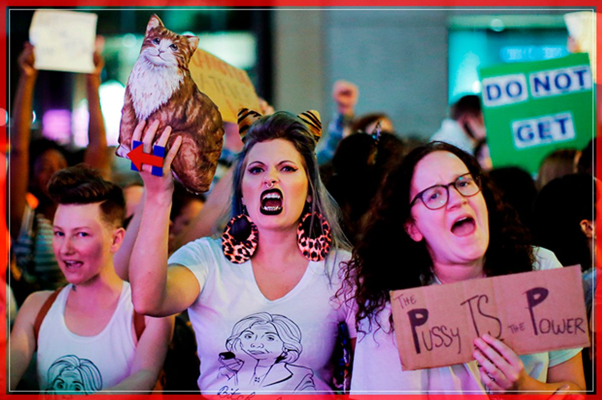 Women protest against Republican presidential nominee Donald Trump and the GOP in front of Trump Tower in Manhattan, New York City, U.S., October 19, 2016.   (Reuters)