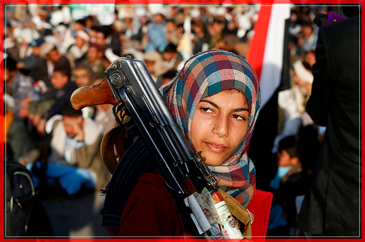 A girl carries a rifle as she attends a rally by followers of the Shi'ite Houthi movement commemorating the death of Imam Zaid bin Ali in Sanaa, Yemen October 26, 2016. REUTERS/Khaled Abdullah     TPX IMAGES OF THE DAY      - RTX2QLEC (Reuters)