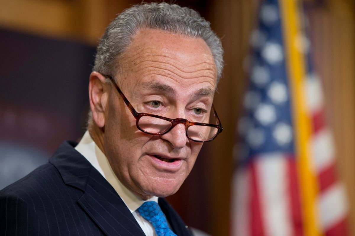 FILE - In this June 23, 2016 file photo, Sen. Charles Schumer, D-N.Y. speaks during a news conference on Capitol Hill in Washington.  (AP)