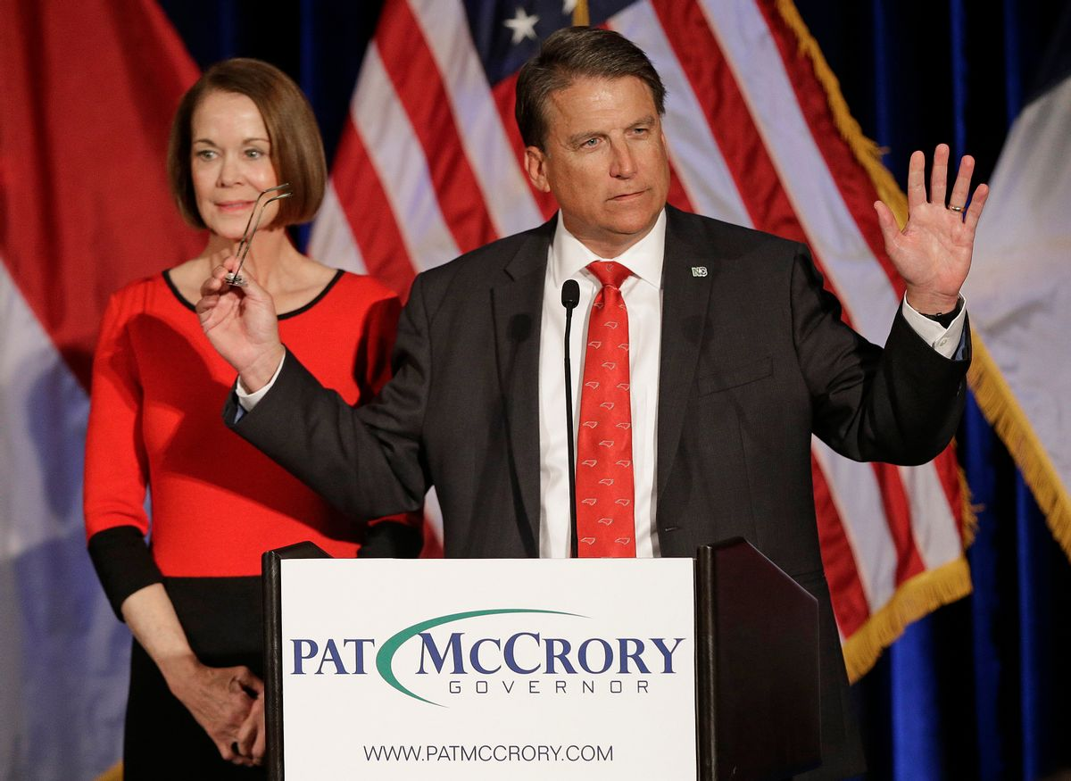 North Carolina Gov. Pat McCrory speaks to supporters as his wife Ann McCrory listens at an election rally in Raleigh, N.C., Wednesday, Nov. 9, 2016. The race between McCrory and Democrat Roy Cooper remains too close to call.(AP Photo/Chuck Burton) (AP)