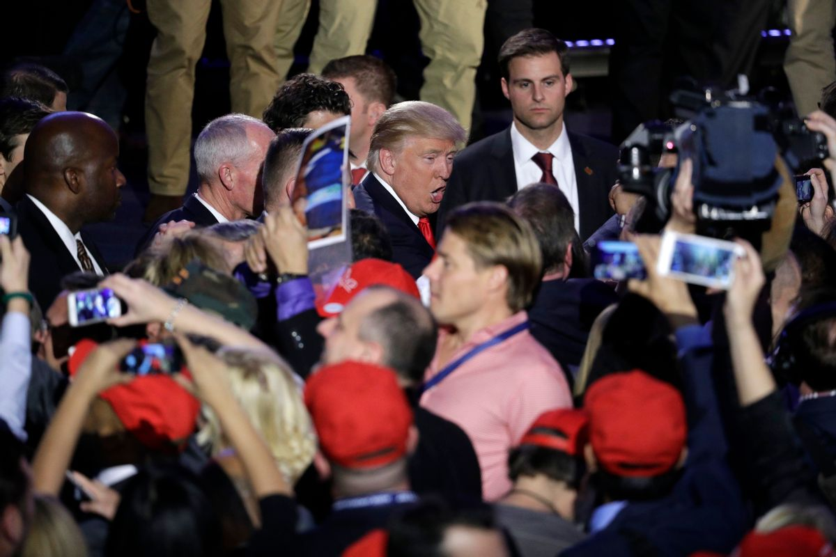 President-elect Donald Trump shakes hands with supporters after giving his acceptance speech during his election night rally, Wednesday, Nov. 9, 2016, in New York.  (AP)