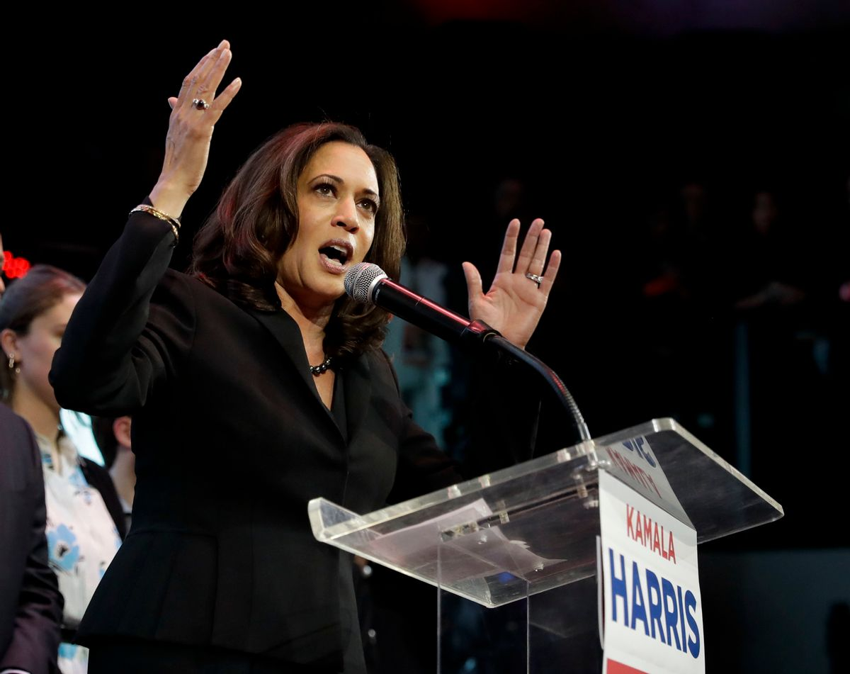 Democratic U.S. Senate candidate, Attorney General Kamala Harris speaks to supporters at a election night rally Tuesday, Nov. 8, 2016 in Los Angeles. (AP Photo/Chris Carlson) (AP)