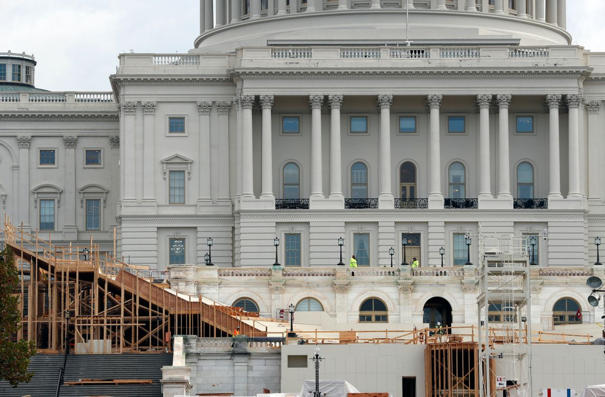 Construction of the inaugural stand continues on Capitol Hill in Washington, Wednesday, Nov. 9, 2016, for the upcoming January inauguration of President-elect Donald Trump. (AP Photo/Alex Brandon) (AP)