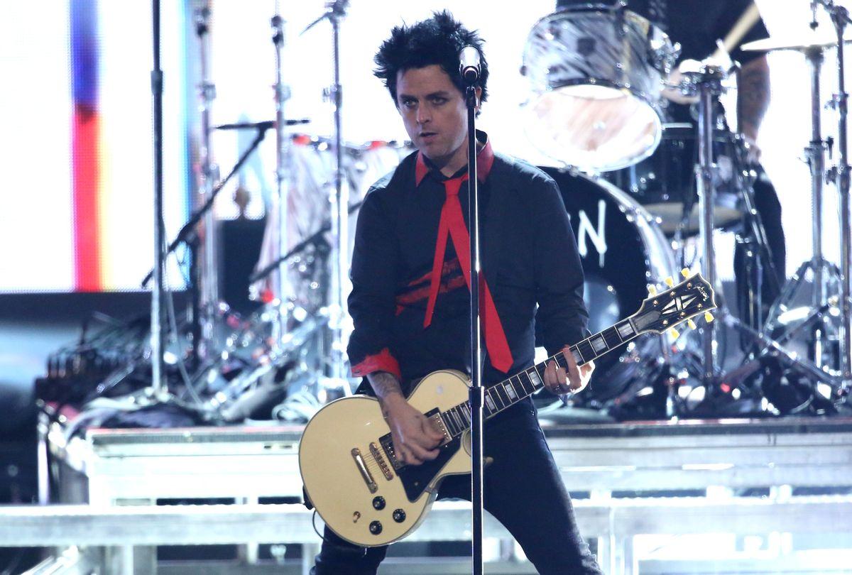 "Billie Joe Armstrong, of Green Day, performs ""Bang Bang"" at the American Music Awards at the Microsoft Theater on Sunday, Nov. 20, 2016, in Los Angeles. (Photo by Matt Sayles/Invision/AP) (Matt Sayles/invision/ap)"