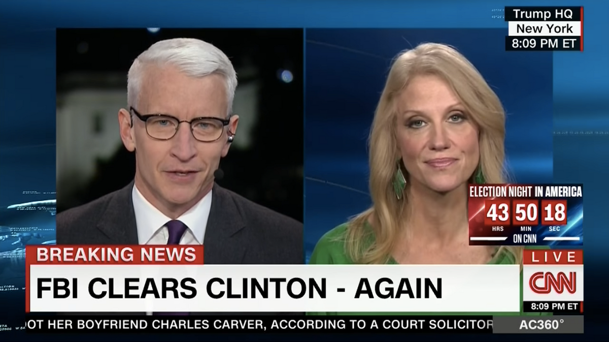 Anderson Cooper interviews Trump campaign manager Kellyanne Conway on CNN, November 6, 2016 (CNN)
