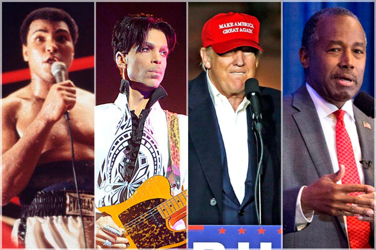 Muhammad Ali; Prince; Donald Trump; Ben Carson   (Getty/Keystone/Bertrand Guay/APGene J. Puskar/Getty/Dominick Reuter)