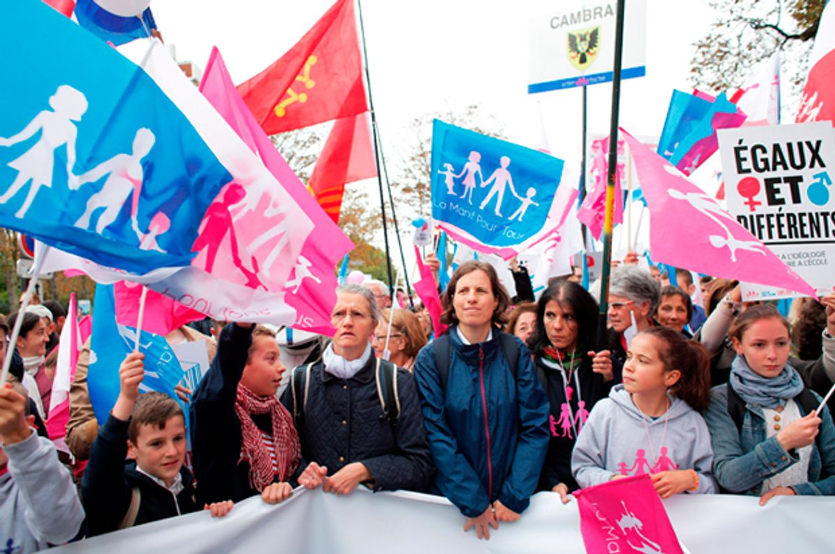 Activists march through Paris to defend what they call traditional family values   (AP/Thibaut Camus)