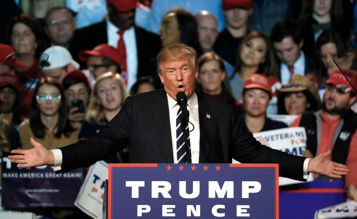 FILE - In this Tuesday, Nov. 8, 2016 file photo, Republican presidential candidate Donald Trump speaks at a campaign rally in Grand Rapids, Mich.  (AP)