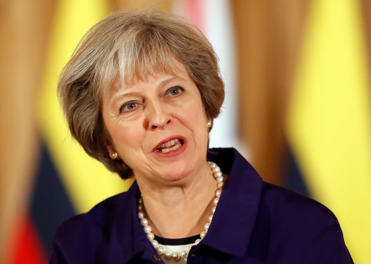 FILE - This is a Wednesday, Nov. 2, 2016 file photo of Britain's Prime Minister Theresa May speaks during a press statement with Colombia's President Juan Manuel Santos at 10 Downing Street in London. Britain's High Court  brought government plans for leaving the European Union screeching to a halt Thursday, Nov. 3, 2016 ruling that the prime minister can't trigger the U.K.'s exit from the bloc without approval from Parliament.  (AP Photo/Kirsty Wigglesworth, pool, File) (AP)