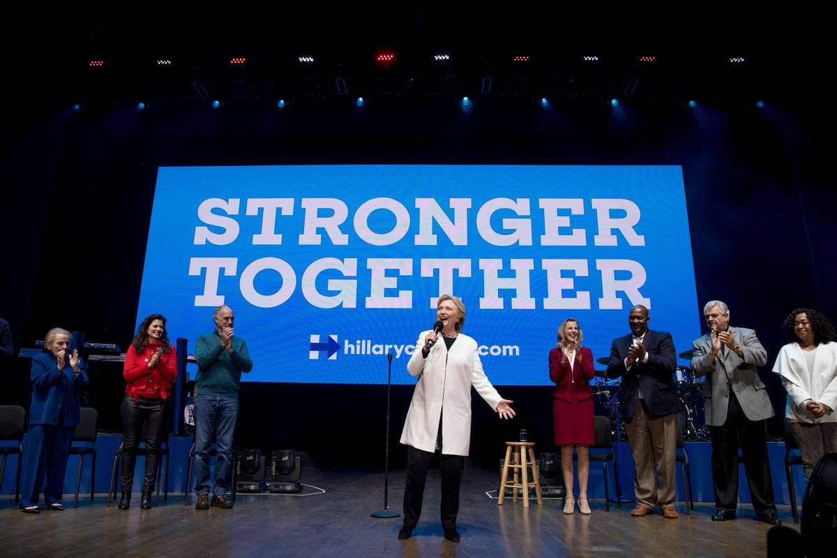 Democratic presidential candidate Hillary Clinton takes the stage for a Get Out the Vote concert at the Mann Center for the Performing Arts in Philadelphia, Saturday, Nov. 5, 2016. (AP Photo/Andrew Harnik) (AP)