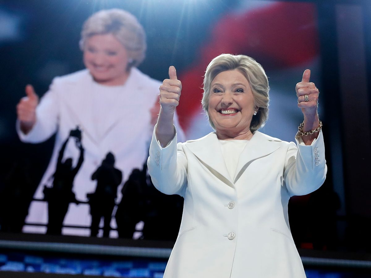 FILE - In this July 28, 2016, file photo, Democratic presidential candidate Hillary Clinton gives her thumbs up as she appears on stage during the final day of the Democratic National Convention in Philadelphia. Every presidential race has its big moments. This one, more than most. (AP Photo/Carolyn Kaster, file) (AP)